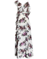 LEFON New York - Floral Chiffon One-shoulder Maxi Dress - Lyst