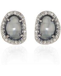 Ri Noor Tahitian Pearl & Diamond Earrings - Metallic
