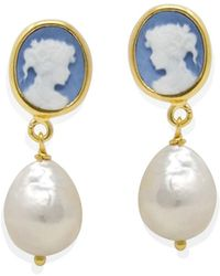 Vintouch Italy Sky Blue Mini Cameo & Pearl Drop Earrings