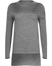 NY CHARISMA Grey Ribbed Neck Trim High-low Pullover - Gray