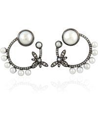 Artisan 18k Gold Earring With Pearl & Pave Diamonds - Metallic
