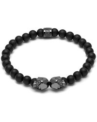 Northskull Matte Black Onyx & Gunmetal Medius Twin Skull Bracelet