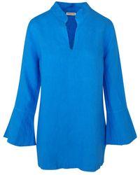 Haris Cotton Long Sleeved Linen Tunic - Blue