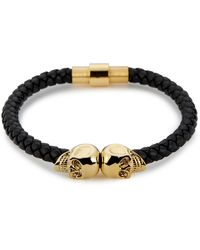 Northskull Black Nappa Leather / Gold Twin Skull Bracelet - Metallic