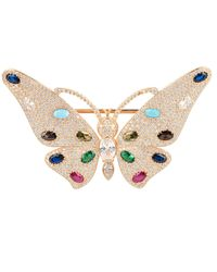 LÁTELITA London Butterfly Gemstone Brooch Rosegold - Pink