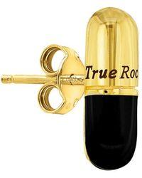 True Rocks 18kt Gold Plate & Black Pill Stud Earring
