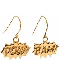 Edge Only Pow & Bam Drop Earrings In Gold - Metallic