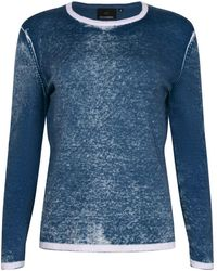 NY CHARISMA Blue Cotton Hand Print Pullover