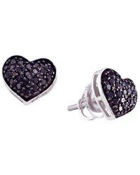 Cosanuova - Black Diamond Pave Heart Earrings In 14k White Gold - Lyst