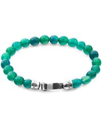 Anchor & Crew Silver & Green Agate Stone Outrigger Bracelet