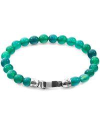 Anchor & Crew Silver & Green Agate Stone Outrigger Bracelet