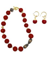 Farra - Nugget Red Bamboo Necklace & Earrings Christmas Gift Set - Lyst