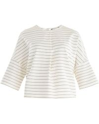 Paisie - Striped Jersey Top With Front Neck Pleat In White & Black - Lyst