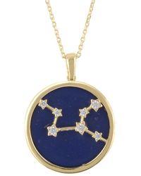 LÁTELITA London Zodiac Lapis Lazuli Gemstone Star Constellation Pendant Necklace Gold Virgo - Metallic
