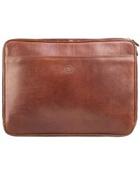 Maxwell Scott Bags Luxury Tan 14 Inch Laptop Sleeve The Bovino - Brown