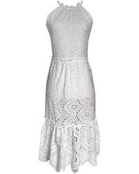 LEFON New York Guipure Lace Dress - White