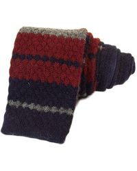 40 Colori Burgundy Striped Wool & Cashmere Knitted Tie - Red