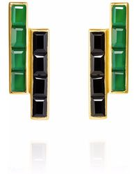 Neola - Equilibrium Gold Earrings Black & Green Onyx - Lyst