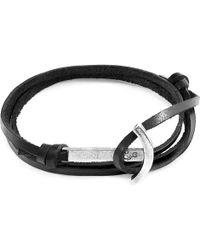 Anchor & Crew Coal Black Clipper Anchor Silver & Flat Leather Bracelet - Metallic