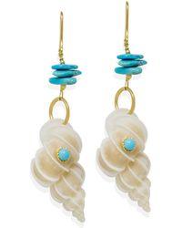 Vintouch Italy Turquoise & Wentletrap Shell Earrings - White