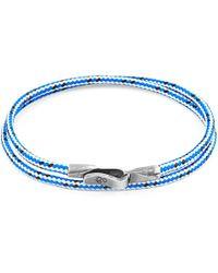 Anchor & Crew - Blue Dash Liverpool Silver & Rope Bracelet - Lyst