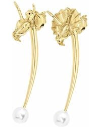 Ecrannium - The Golden Crested & Non-crested Dragon Pin Earrings - Lyst