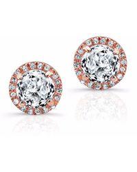 Anne Sisteron - Rose Gold White Topaz Diamond Teresa Stud Earrings - Lyst