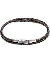 Anchor & Crew - Dark Brown Liverpool Silver & Braided Leather Bracelet - Lyst