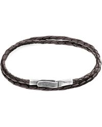 Anchor & Crew Dark Brown Liverpool Silver & Braided Leather Bracelet
