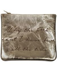 Sarah Baily - Wtf Cant I Have Fun All The Time Leopard & Gold Mini Clutch - Lyst