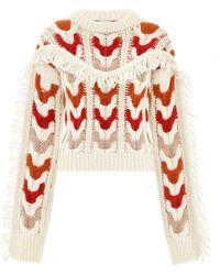 Hayley Menzies Etta Cream Cable Jumper Cream & Red