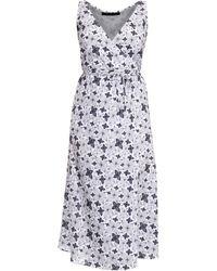 Philosofée Charcoal Floral Chiffon Mid Wrap Dress - Gray