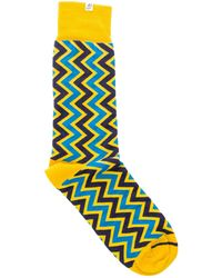 40 Colori - Gold Vertical Chevron Striped Organic Cotton Socks - Lyst