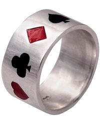 Edge Only Poker Ring Enameled Silver - Metallic