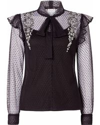 Raishma - Black Polka Dot Pussybow Shirt - Lyst