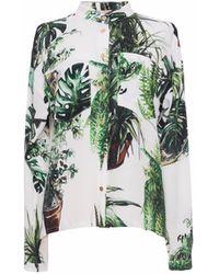 TOMCSANYI Plants Print Shirt - White