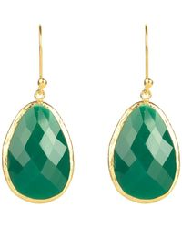 LÁTELITA London Single Drop Earring Gold Green Onyx