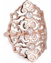 Neola - Jade Rose Gold Cocktail Ring With Rose Quartz - Lyst
