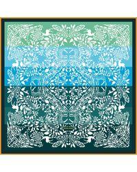 Jessie Zhao New York Silk Scarf With Jungle Love Rainbow - Green