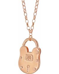 True Rocks - Large Padlock Rose Gold Necklace - Lyst