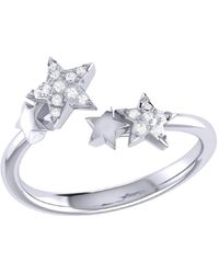 LMJ Dazzling Star Couples Open Ring In Sterling Silver - Metallic