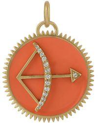 Artisan 18k Yellow Gold Bow Arrow Diamond Pendant - Multicolour