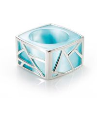 Ona Chan Jewelry - Square Cocktail Ring Blue - Lyst