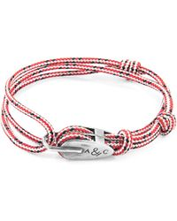 Anchor & Crew - Red Dash Tyne Silver & Rope Bracelet - Lyst