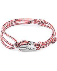 Anchor & Crew - Red Dash Tyne Silver & Rope Bracelet - Lyst