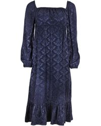 blonde gone rogue Sustainable Empire Dress In Navy - Blue