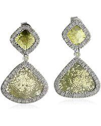 Artisan - 18k White Gold Silce Diamond Dangle Earrings Handmade Jewelry - Lyst