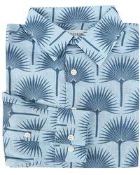 Pink House Mustique Mens Linen Shirt Fan Palm - Blue