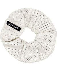 Scenery Label White Leather Scrunchie