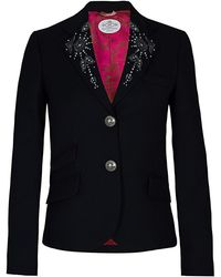 The Extreme Collection - Embroidery Navy Blue Blazer - Lyst